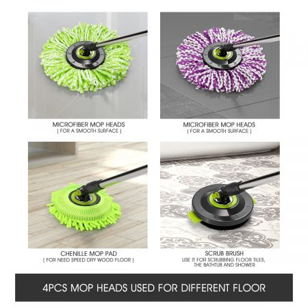 360 Degree Magic Spin Mop & Stainless Steel Dry Bucket with Four Free Mop Heads